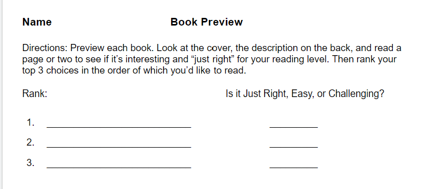 Book Preview slip